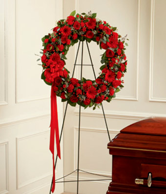 Red Funeral Wreath